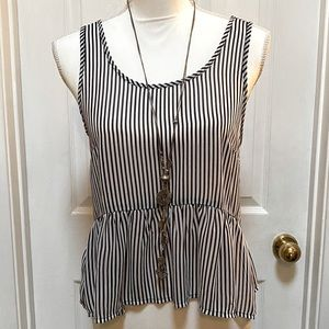 Forever 21 black /white striped scoop neck top